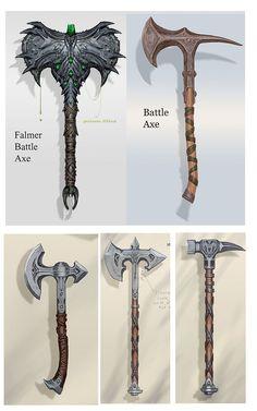 Artes de The Elder Scrolls Skyrim e Online Elder Scrolls Skyrim, The Elder Scrolls, Anime Weapons, Fantasy Weapons, Weapon Concept Art, Skyrim Concept Art, Sword Design, Pathfinder Rpg, Battle Axe
