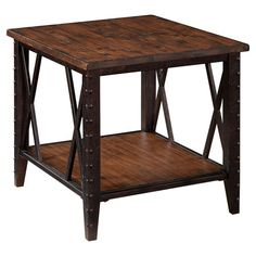 Showcasing a lower display shelf and nailhead accents, this eye-catching end table brings an industrial-chic touch to your living room or den.   Fleming End Table $244.95