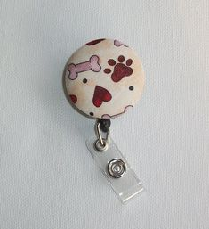 Retractable ID Badge Holder Reel - Fabric Button - for the love of DOGS chic / cute / preppy / fabric / patterned designed / coasters, lanyards, key fobs, reels, monogramming / computer mouse pads sets ideal for cubical, office, home decor / multi-patterned gifts for coworkers, students, teachers, medical, family, graduations, holidays / create your special coordinated designs