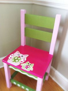 SALE Kids Chair pink green owls by LinsyLous on Etsy, $75.00