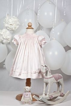VICTORIA - Hand Smocked Pale Pink Special Occasion Dress