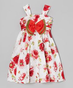 Another great find on #zulily! White & Red Rose Bow Dress - Toddler & Girls #zulilyfinds