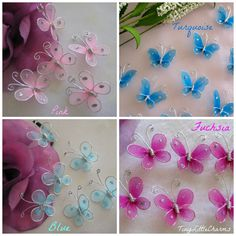 "50 pcs Fuchsia, Pink, Blue, Turquoise Nylon Butterfly Party Favors, Wedding Decor, Christening, Baby Shower, Table Scatters, 1"" /25 mm"