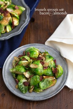 Super easy and delicious Brussels sprouts with bacon and almonds