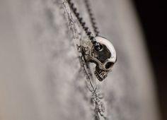 Sterling silver half skull pendant. Highly detailed silver skull jewelry. Rocker pendant. Biker necklace. Necklace for women pendant for men