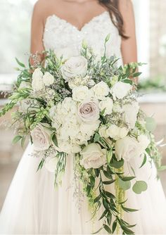 This overflowing wedding bouquet is gorgeous