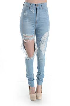 Full Length High Waist Skinny Jean Ripped Leg Detail.