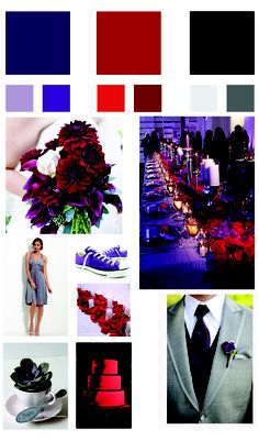 red and purple and black wedding color scheme - some of my inspiration