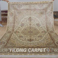 Yilong 6'x9' Persian Silk Rugs Hand Knotted Top Carpets Shah Abbas Handmade 0998