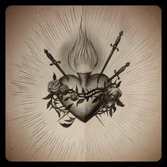 Sacred heart sketch - Kat Von D. Jesus Tattoo, Mary Tattoo, Kat Von D, Tattoos Skull, Body Art Tattoos, Hand Tattoos, Sagrado Corazon Tattoo, Catholic Tattoos, Sacred Heart Tattoos