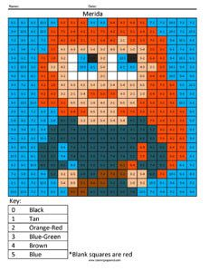 Brave's Merida Subtraction Page- Disney Princess coloring