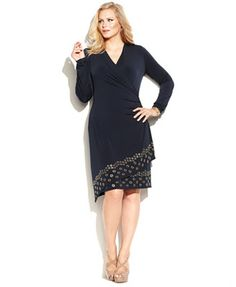 MICHAEL Michael Kors Plus Size Faux-Wrap Grommet Dress