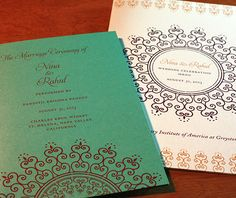 Blue metallic paper digitally printed with our Lalita design.  | Invitations by Ajalon | invitationsbyajalon.com