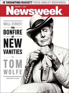 Newsweek (US) Tom Wolfe on new iPad cover Newsweek magazineDesign direction Lindsay BallantPhotograpger Platon