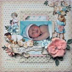 This is one beautiful Little Darlings layout found on Karen's Scrap Spot: MHC and My Creative Sketches. Love how everything just jumps off the page! Beautiful! #graphic45 #layouts