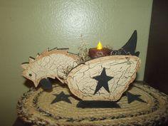 Primitive Crackle Wood Chicken Hen ~ Shelf Sitter ~ Country Decor #NaivePrimitive