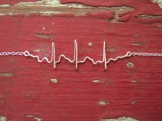 Atrial Fibrillation EKG Necklace,Sterling Silver heartbeat necklace, $44, By TheLittlestBigSpoon on Etsy
