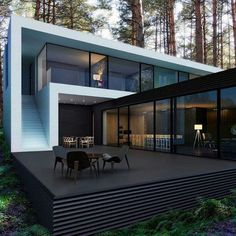 Container House - Very nice setup with a minimalistic house and Danish design furniture from Carl Hansen Son - Who Else Wants Simple Step-By-Step Plans To Design And Build A Container Home From Scratch? House Architecture, Residential Architecture, Amazing Architecture, Contemporary Architecture, Contemporary Houses, Contemporary Design, Black Architecture, Container Architecture, Architecture Portfolio