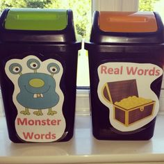 Children to sort words into real or monster words during continuous provision EYFS Ks1 Classroom, Year 1 Classroom, Monster Classroom, Classroom Themes, Writing Corner, Writing Area, Phonics Activities, Writing Activities, Continuous Provision Year 1