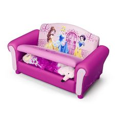 """Disney Princess Upholstered Sofa with Storage - Delta - Toys """"R"""" Us Little Girl Toys, Baby Girl Toys, Toys For Girls, Princess Theme Bedroom, Princess Room, Baby Bedroom, Girls Bedroom, Disney Princess Toddler, Hello Kitty House"""