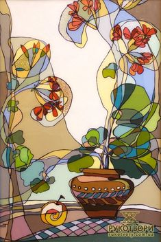 'Glass Painting by Ukrainian artist Tetyana Grytsay'