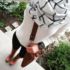 How to dress up a plain black and white outfit with accessories, boots, scarf and a handbag