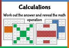 Work out the answers to the sums and reveal an operation.