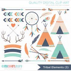 Clipart - Tribal Elements (3) / American Indian Digital Clipart - Digital Clip Art (Instant Download)
