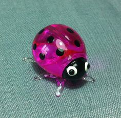 Hand Blown Glass Funny Ladybug Ladybird Insect Animal Cute White Pink Black Figurine Statue Decoration Collectible Small Craft Hand Painted