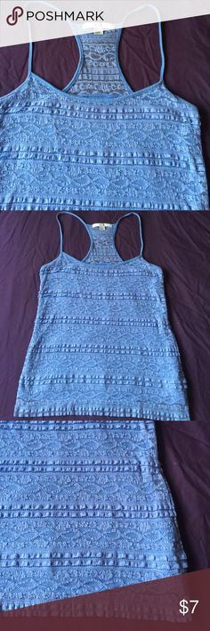 NWOT Lace Cami w cami NWOT pretty blue lace tank top with built in stretchy cotton cami underneath layer (makes this top SO flattering!). Has some stretch to it, racerback detail..    💥BUNDLE TO SAVE 20%💥 Forever 21 Tops Tank Tops