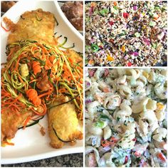 Tilapia topped with Carrot & Zucchini Slaw, Seven Grain Salad with Lemon-Lime Vinaigrette, and Seafood Pasta Salad. Grain Salad, Lime Vinaigrette, Seafood Pasta, Fresh Coffee, Tilapia, Lemon Lime, Pasta Salad, Zucchini, Carrots