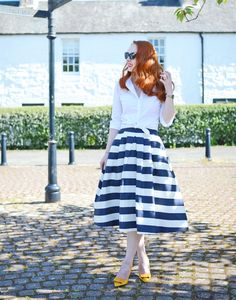stripe skirt and white knotted shirt: retro summer outfit