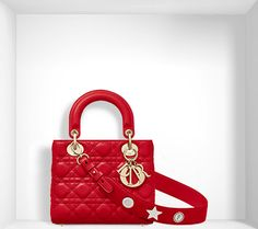 """""""lady dior"""" bag in bright red lambskin, customisable shoulder strap - Dior"""