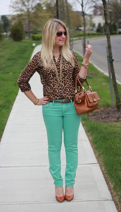 color jeans and leopard print