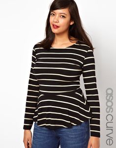 ASOS Curve   Peplum Top With Long Sleeves