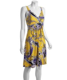 Tahari beeswax yellow paisley print jersey 'Liz' dress | BLUEFLY up to 70% off designer brands at bluefly.com