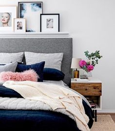 West Elm.  Gray headboard