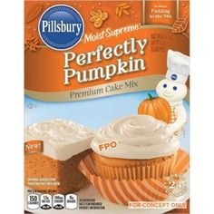 Pillsbury Perfectly Pumpkin Cake Mix...found this at Target this morning...they are fabulous!!! Top with their perfectly pumpkin cream cheese frosting and the cupcakes taste just like homemade pumpkin bars! So good!!!