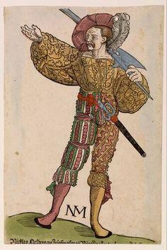 Erhard Schön - Landsknecht met hellebaard - circa 1530