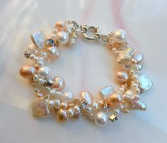 Elegant pearl bracelet white and pink peach by anamarina on Etsy, $62.00