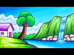 How to Draw Easy Scenery Scenery Drawing For Kids, Drawing Lessons For Kids, Drawing Tutorials For Kids, Easy Drawings For Kids, Easy Drawing For Children, Oil Pastel Drawings Easy, Oil Pastel Art, Colorful Drawings, Oil Pastels