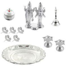 Jpearls Special Pooja Hamper   Pure Silver Lakshmi Narayan Idol, Silver Bell, Kumkum Dabi, Diyas, Silver Plate, Silver Flowers