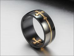 Amazing matt black ring for men, engraved with gold cross. This awesome ring is becoming very popular, everyone loves it! Get your badass ring and show off! suits great for us bikers! also perfect for