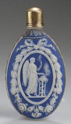 Antique vintage Scent Perfume Bottle; Wedgwood or Turner, Jasperware, White & Blue, Wreath, Sacrifice, Venus & Cupid, 3 inch.
