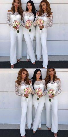 03c7181dd839 Elegant White pantsuits for Bridesmaids wedding