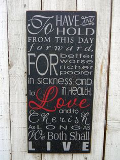 Wedding vows To have and to hold LARGE vintage by AmericanAtHeart, $42.00. If I got this for my bridal shower I would not be disappointed!