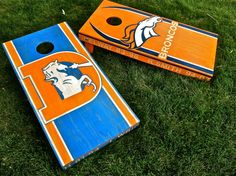 Cornhole Game by Colorado Joes Denver Broncos Classic Distressed Finish on Etsy,. Cornhole Game by Go Broncos, Broncos Fans, Denver Broncos Merchandise, Diy Cornhole Boards, Wood Crafts, Diy Crafts, Corn Hole Game, Pallet Painting, Yard Games
