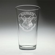FREE SHIPPING Personalized Hogwarts Crest inspired engraved Glass , Harry Potter , wizard gift , HP