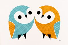 Mini Print - Owl Pair (aqua)