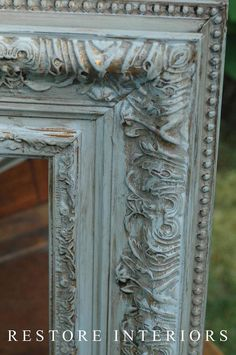 I painted Paris Gray over gold frames and let them dry really good. I sanded them with a wet rag and then I used a coat of clear wax and then a coat of dark wax. The trick that I learned from Stacey about taking off the dark wax with clear wax … Paint Furniture, Furniture Makeover, Furniture Ideas, Dresser Makeovers, Funky Furniture, Furniture Design, Gilding Wax, Paris Grey, Annie Sloan Chalk Paint